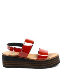 Women's Red leather flatform sandals