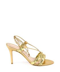 Gold leather trim braid heeled sandals