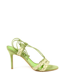 Lime leather trim braid heeled sandals