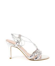 Silver leather trim braid heeled sandals
