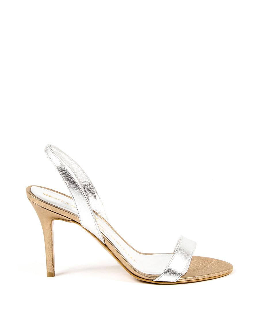 Silver leather slingback heels Sale - versace 1969 abbigliamento sportivo