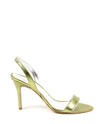 Lime leather metallic slingback heels