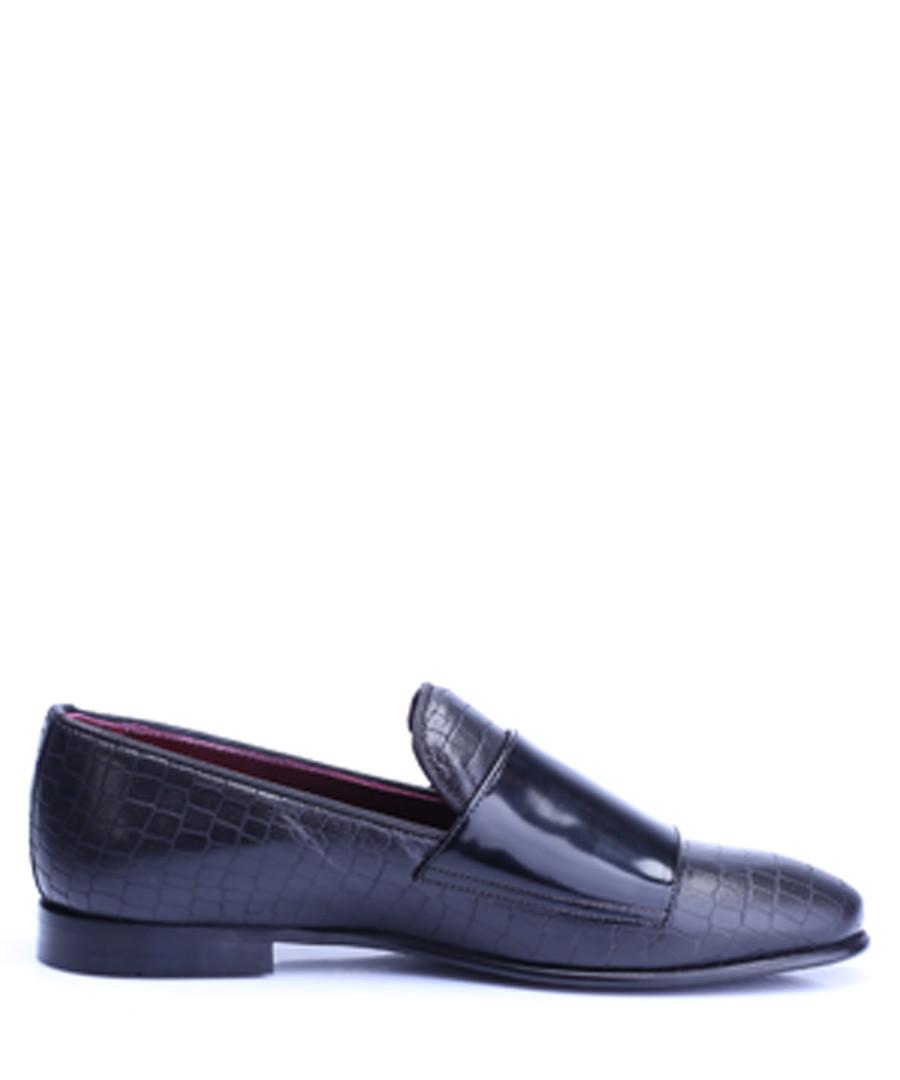 Black leather moc-croc loafers Sale - s baker