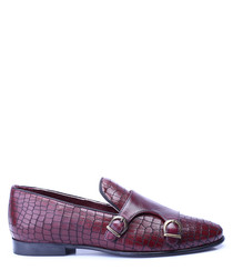 Bordeaux leather monkstrap loafers