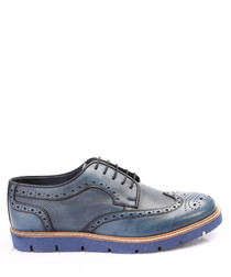 Blue leather perforated brogues