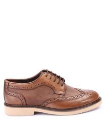 Walnut leather costrast heel brogues