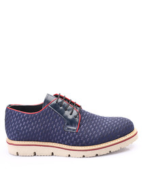 Blue leather textured lace-up shoes
