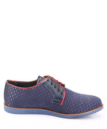 Blue leather textured shoes