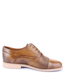 Walnut leather Derby shoes