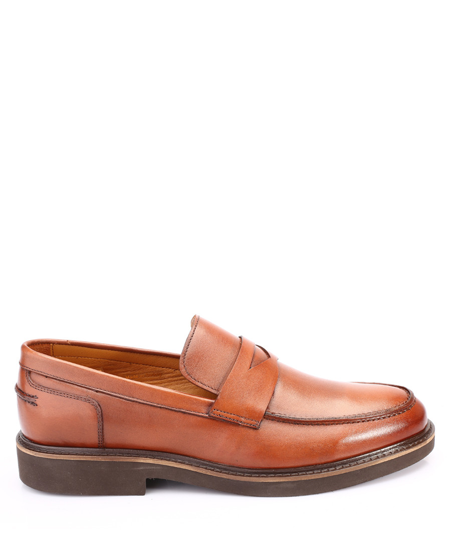 Tan brown leather loafers Sale - s baker