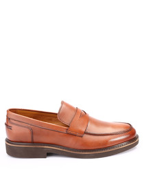 Tobacco brown leather loafers
