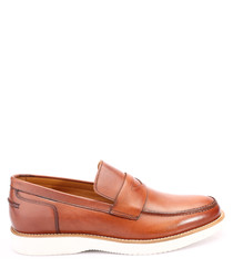 Tan & white leather loafers