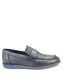 Blue leather weave-effect loafers