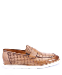 Walnut leather weave-effect loafers