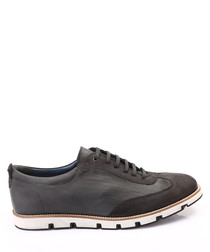 Black leather dual-textured sneakers