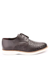 Brown leather moc-croc lace-up shoes