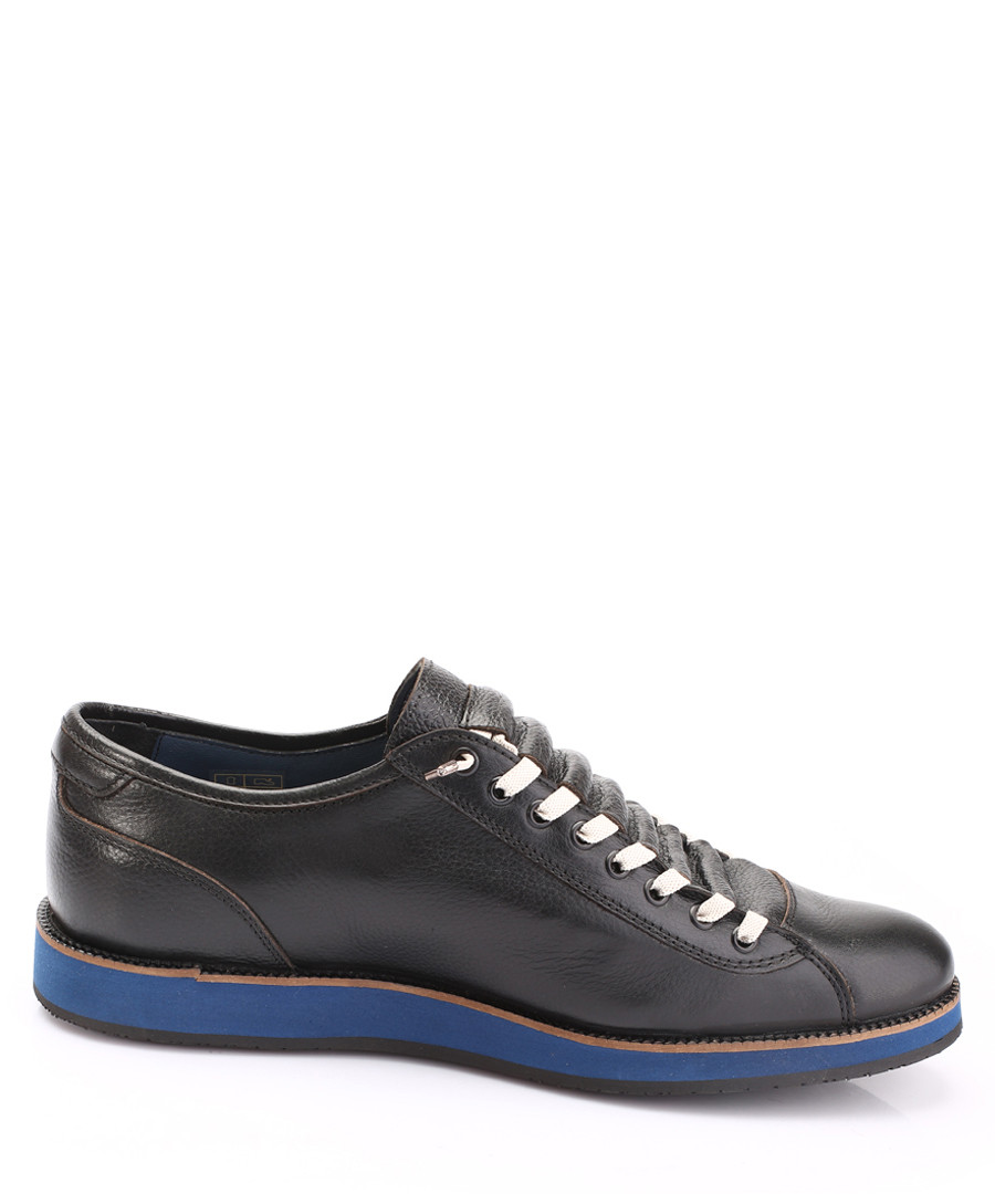 Black & blue leather contrast sneakers Sale - s baker