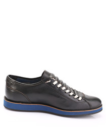 Black & blue leather contrast sneakers