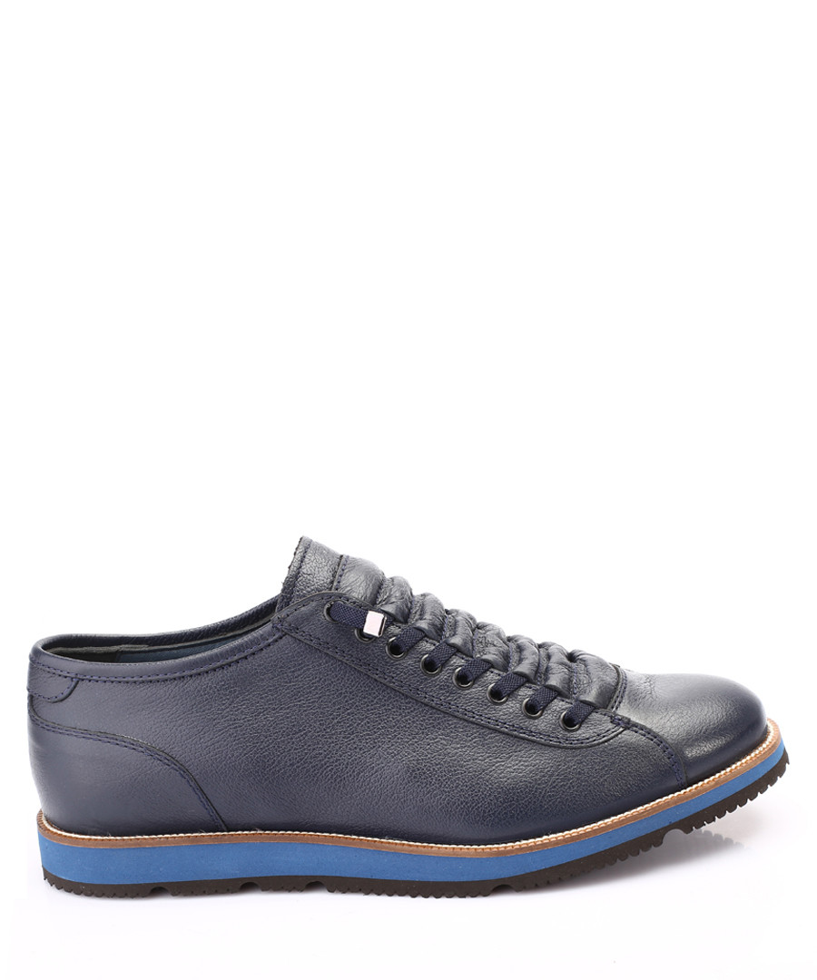 Blue leather contrast heel sneakers  Sale - s baker