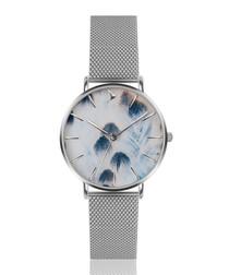 Silver-tone & blue steel feather watch