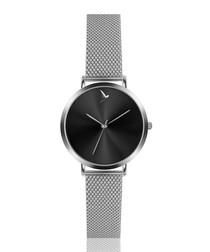 Silver-tone & black steel mesh watch