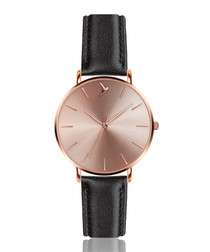 Black & rose gold-tone leather watch