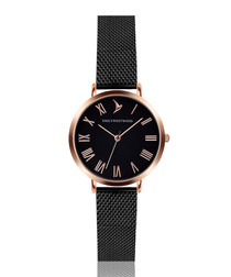 Black & rose gold-tone mesh watch