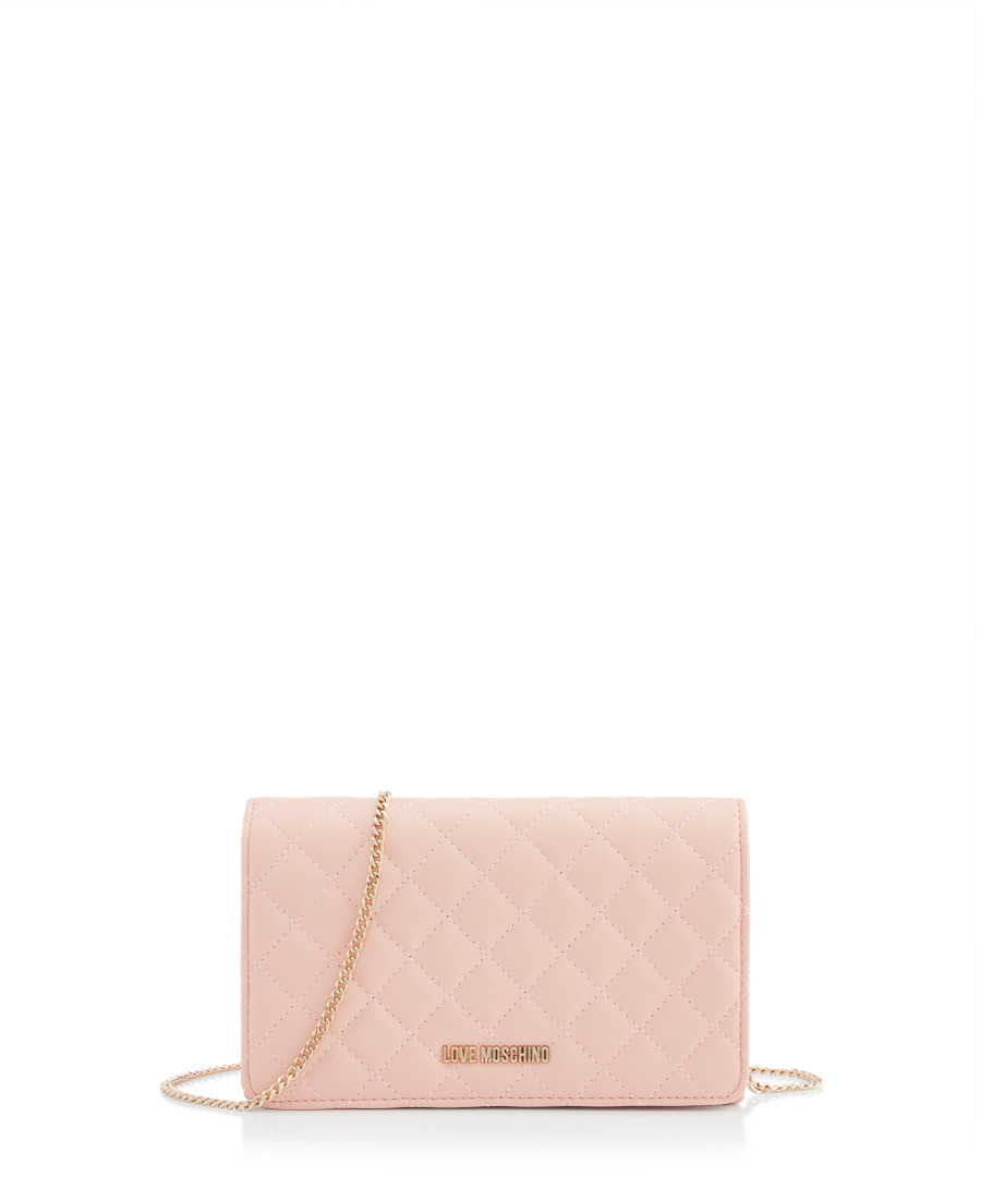 f0303bd346e17 Light pink quilted shoulder bag Sale - love moschino ...