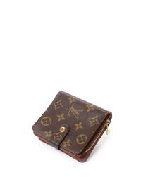 Compact brown monogram canvas purse