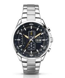 Silver-tone & black steel link watch