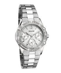 Silver-tone steel & crystal watch
