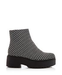 Bane black leather platform boots
