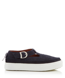 Rookie navy leather buckle detail shoes
