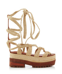 Shona blossom & tan lace-up sandals
