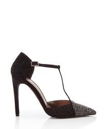 Teatime black suede studded strap heels