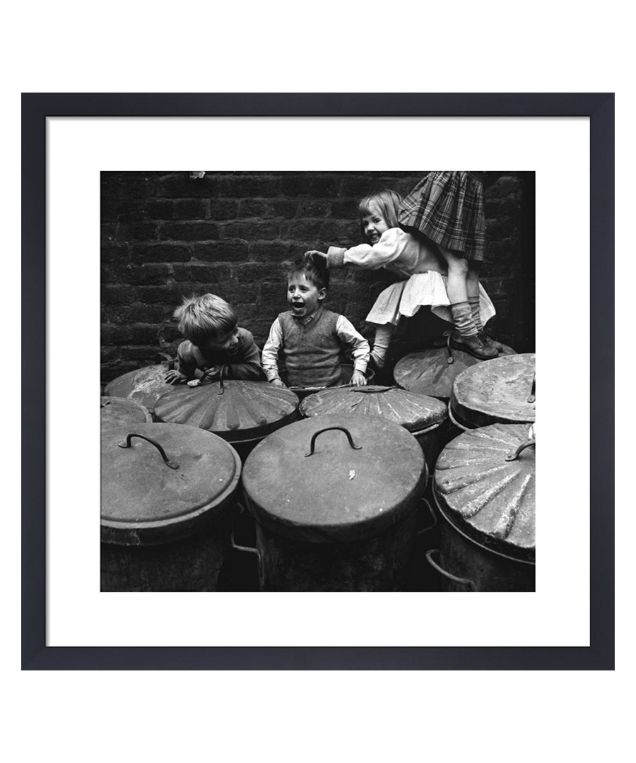 Children Playing Dustbins framed print Sale - wall art