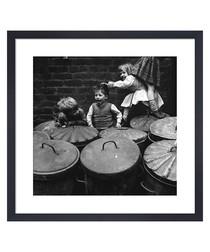 Children Playing Dustbins framed print