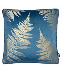 Tropic teal fern leaf cushion 43cm