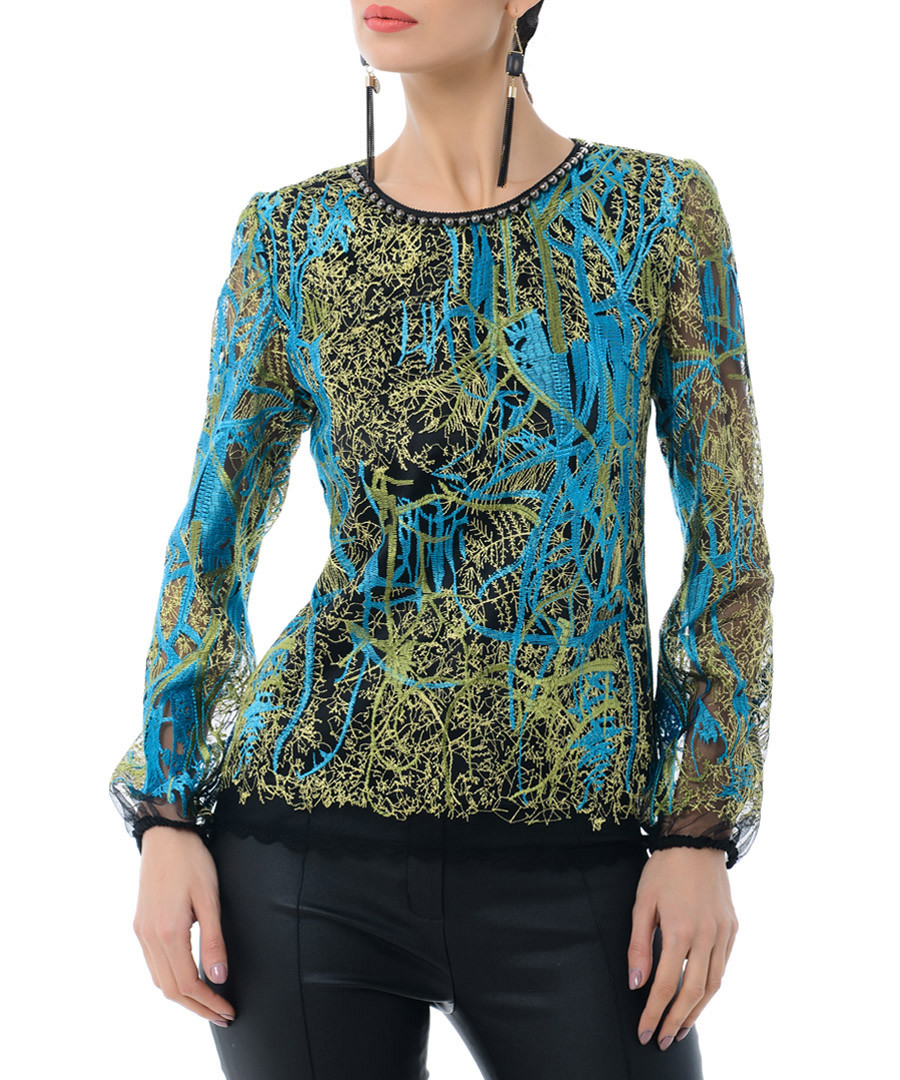 Green & blue cotton abstract blouse Sale - Iren Klairie