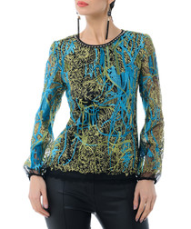 Green & blue cotton abstract blouse
