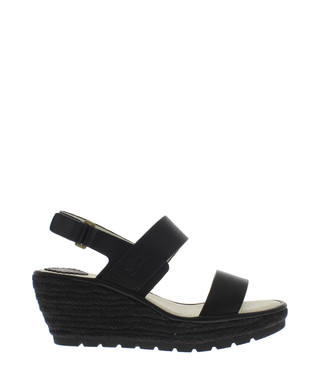 cd1993d38 Black leather two part wedge sandals Sale - Fly London Sale