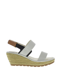 Off-white leather two part wedge sandals