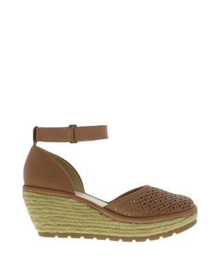 9bceed0f406 Fly London. Tan leather ankle strap wedge sandals