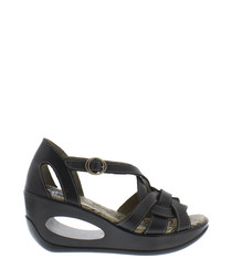 Black leather strap wedge sandals