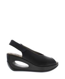 Black leather peep-toe wedge sandals