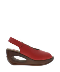 Scarlet leather peep-toe wedge sandals
