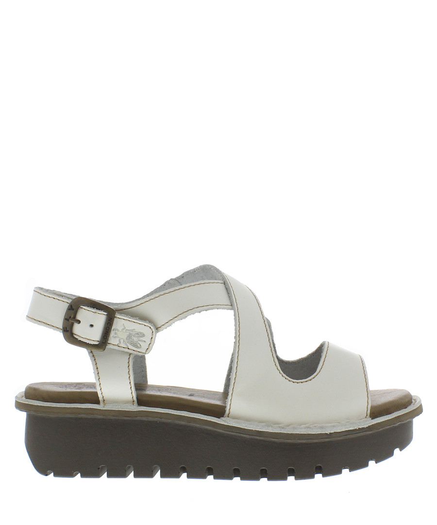 Off-white leather strap sandals  Sale - fly london