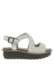 Off-white leather strap sandals