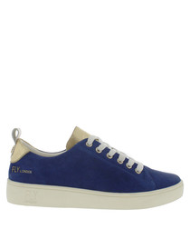 Women's blue leather lace-up sneakers