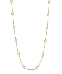 18k gold-plated & crystal necklace